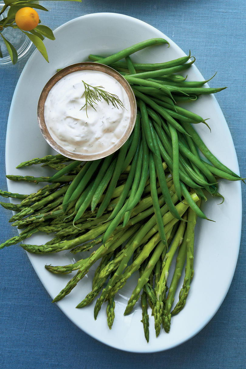 vitrina the first signs of springs with tender spears of asparagus and haricots verts serving as crudites for this creamy fresh herb dip.