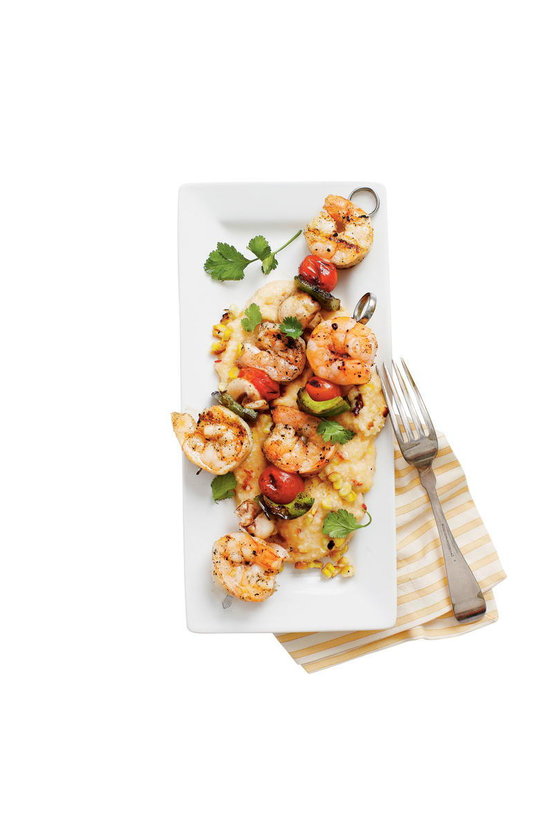 Grillezett Shrimp and Smoky Grilled-Corn Grits Recipe