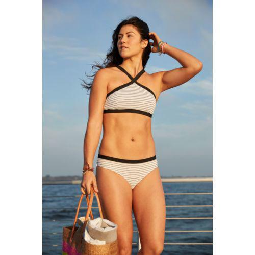 Magas Neck Cross Front Swim Top & Bottom in Caviar