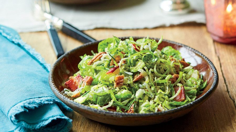 Brüsszel Sprout-and-Leek Slaw with Bacon and Pecans Recipe