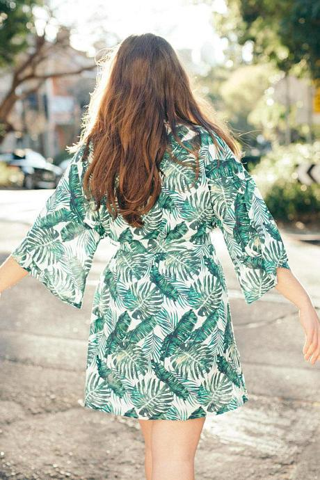 palmu Leaf Tropical Print Robe