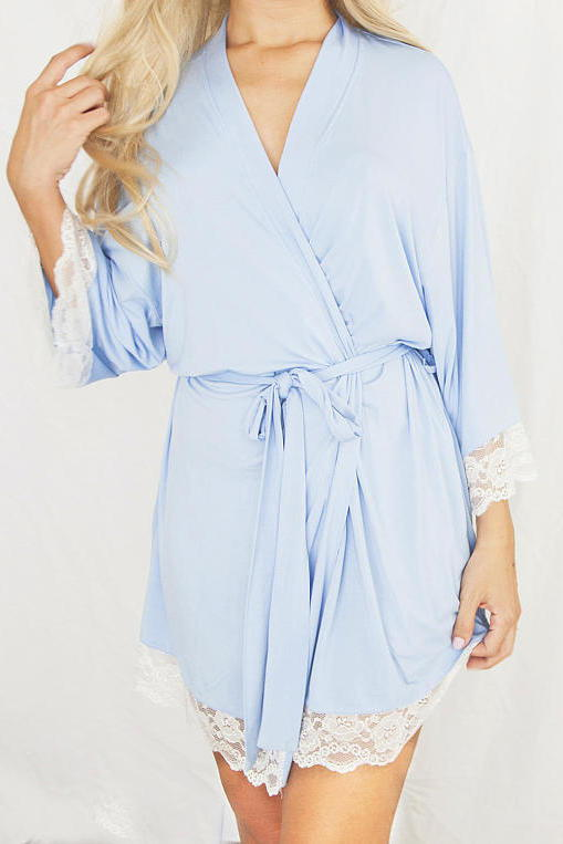 Sininen Cotton Robe with Lace Trim