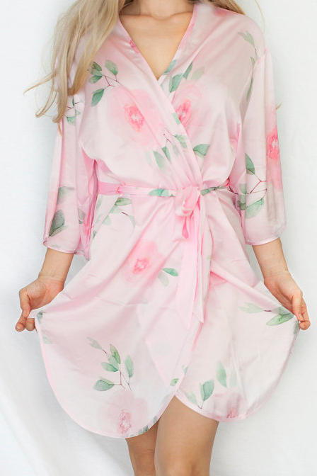 Pinkki Satin Floral Bridesmaid Robe