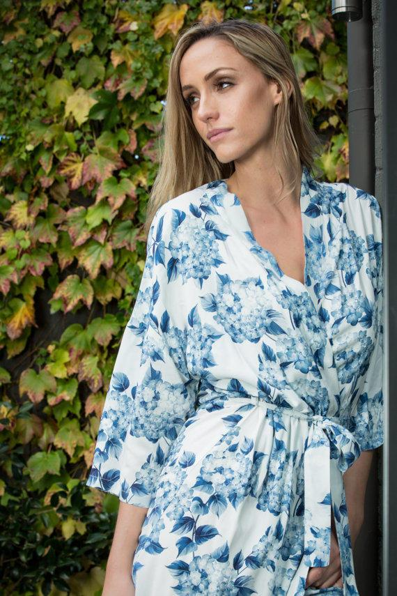 Jotain Blue Floral Print Robe