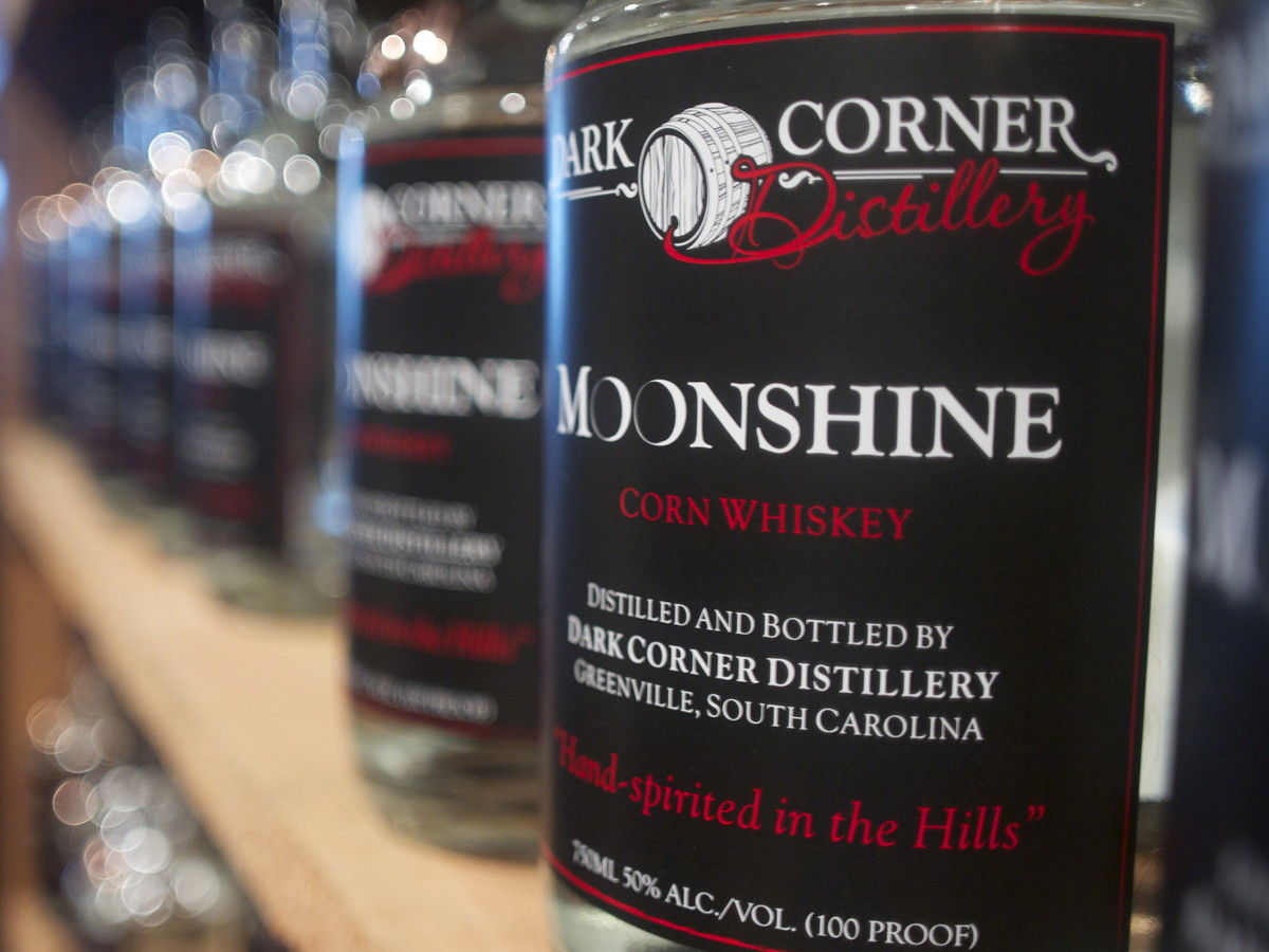 le Dark Corner Distillery Moonshine in Greenville, SC